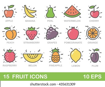 Color stylized fruit icons. Outlines vector illustration