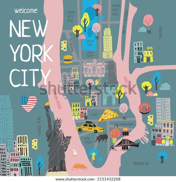 New York Mapa Turistico.Vector De Stock Libre De Regalias Sobre Mapa Turistico Estilizado En Color De1531432208