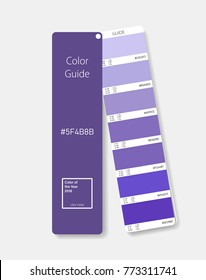 Color swatch concept modern realistic style. Color palette guide. Color scale. Design guide, fan, catalogue. Ultra violet. Color of the Year 2018. Shade chart. Vector illustration