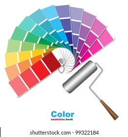 Color swatches and paint roller brushes
