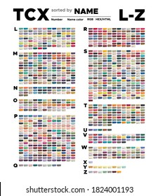 Color table of the TCX colors sorted by name L-Z. Palette with number, named swatches, chart conform to RGB, HTML and HEX description. Test page for print on cotton