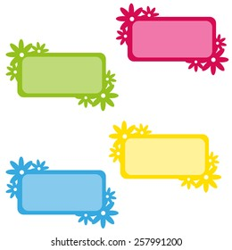 color tags with flower motive