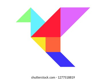 Color tangram puzzle in flying bird shape on white background