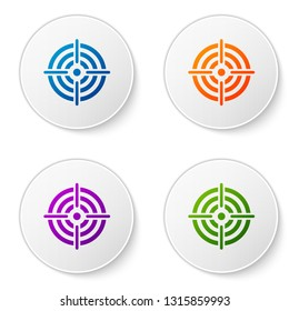 Color Target sport for shooting competition icon isolated on white background. Clean target with numbers for shooting range or pistol shooting. Set color icon in circle buttons. Vector Illustration