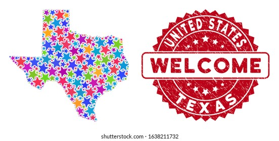 Color Texas map mosaic of stars, and grunge round red WELCOME stamp. Abstract geographic plan in bright color hues. Vector Texas map is organized of bright stars. Designed for political,