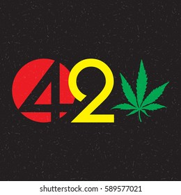 Color text 420 with cannabis leaf  on grunge background.