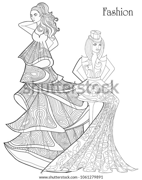 Color Therapy Fashion Antistress Coloring Book Stock Vector (Royalty Free)  1061279891
