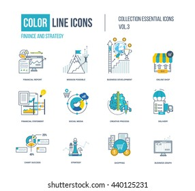 Color thin Line icons set. Logo and pictograms for websites, banners, infographic illustrations. Project management, business development, strategy, social media, creative process, delivery, shopping