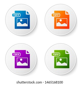 Color TIFF file document. Download tiff button icon isolated on white background. TIFF file symbol. Set icons in circle buttons. Vector Illustration