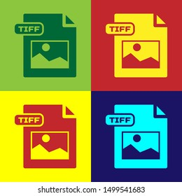 Color TIFF file document. Download tiff button icon isolated on color background. TIFF file symbol.  Vector Illustration
