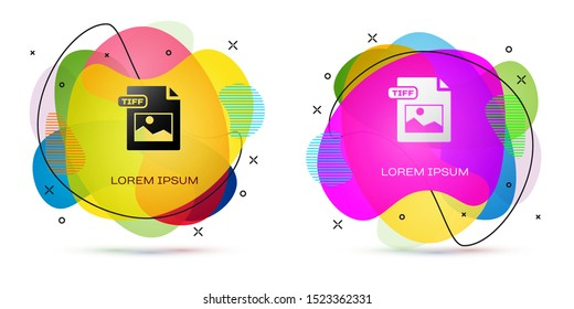 Color TIFF file document. Download tiff button icon isolated on white background. TIFF file symbol. Abstract banner with liquid shapes. Vector Illustration