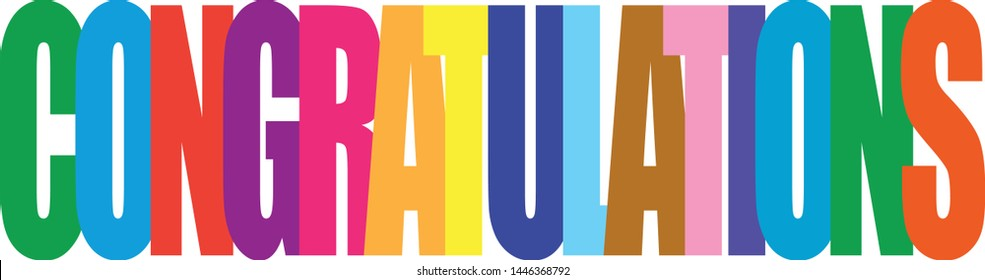 Color title of congratulations in white background