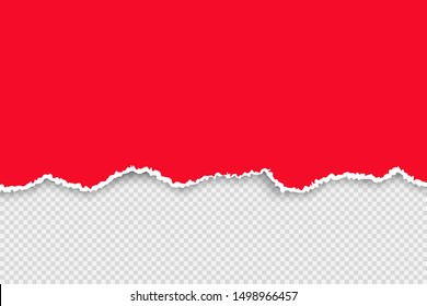 Color torn paper set. Ripped red paper with white ribbon sheet. Vector realistic illustration on transparent background for banners and signs