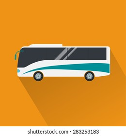 Color touristic or charter bus isolated, flat vector icon