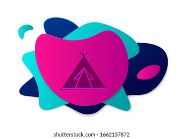 Color Traditional indian teepee or wigwam icon isolated on white background. Indian tent. Abstract banner with liquid shapes. Vector Illustration