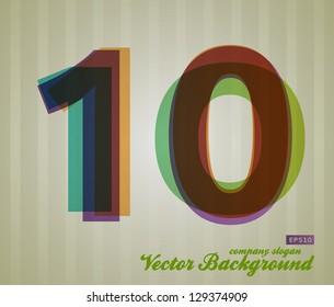 Color Transparency Number. Retro Background. Symbol 10.