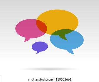 color transparent speech bubbles in conversation