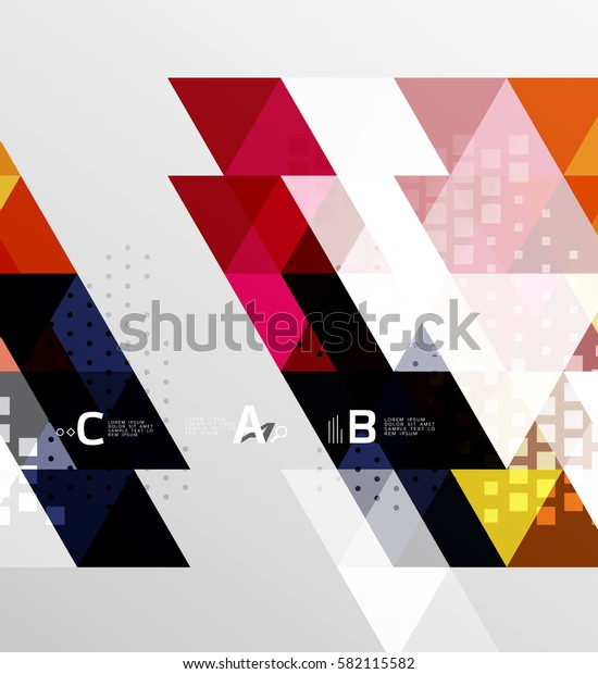 Color transparent trianlge tiles with infographic elements. Vector template background for workflow layout, diagram, number options or web design