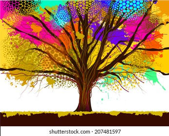 color of tree stain watercolor. Vector