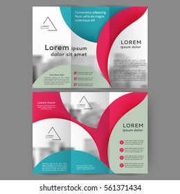 Color tri fold abstract business brochure design with front and back page