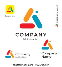 Color Triangle Abstract Logo. Bright Colorful Modern Identity Brand and App Icon Symbol. Concept Set Template Vector