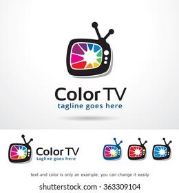 Color TV Logo Template Design Vector