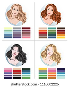 Color type of appearance of women. With a palette of colors suitable for their type of appearance. 4 classic types in the seasons: summer, autumn, winter, spring.