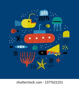 Color underwater world. Perfect for t-shirt, apparel, cards, poster, nursery decoration. Cute vector illustration. Dark background.