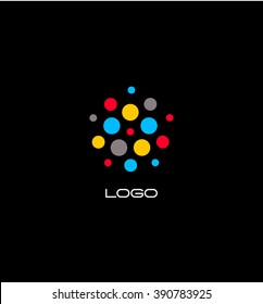 Color unusual fashion logo. Round colored dots hanging in space. Abstract vector illustration.