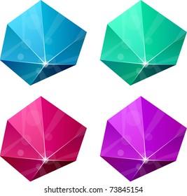 Color variation of hexagonal vivid pyramid. Vector EPS8.