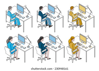 Color variation man and woman working with Compute, sitting in their desks.