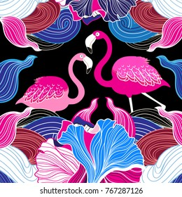 Color vector abstract pattern with pink flamingo