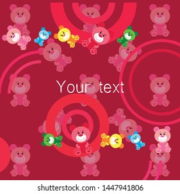 Color vector bear, baby picture, cartoon character, vector background.