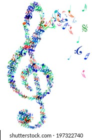 color vector bright music treble clef and notes