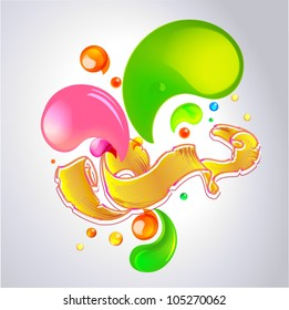 Color vector bubbles banner and ribbon part 1