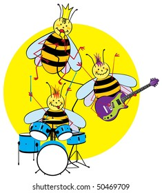 Color vector cartoon illustration of a funny bee band who playing music.