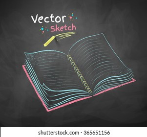 Color vector chalk drawing of open school notebook on black chalkboard background.