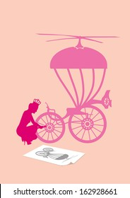 A color vector conceptual illustration of a 'story' of modern Cinderella.