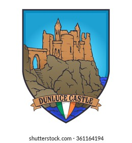 Color vector designs illustrated an Irish castle and flag of Ireland on a shield, Dunluce castle