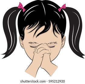 A color vector drawing of a little girl with her hands folded saying her prayers.