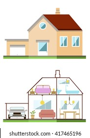 Color Vector Flat Design House Exterior and Interior.
