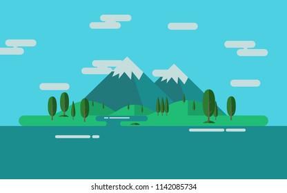 Color Vector Flat design illustration, landscape Mountains illustration, Nature background.