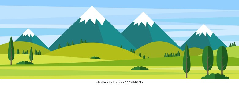 Color Vector Flat design illustration  landscape Mountains illustration  Nature background.