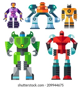 Color vector flat icon set and illustrations modern transformer robots