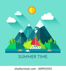 Color vector flat icon set and illustration summer time: village, mountain, sun, clouds, trees nature, river, pond, sea, boat, sail, fishing, walking, fresh air.