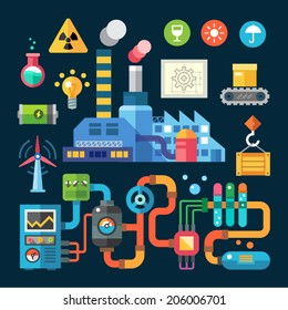 Color  vector flat illustrations and icons  factory and protection ofenvironment: plant, smoke, pollution, radiation, chemistry, electricity, cargo, goods, boxes, tap, ellivator, pipes, levers, system