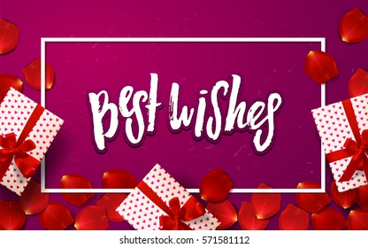 """Color vector gift box, bows and ribbons. Hand drawn calligraphy """"best wishes"""". Template post card."""