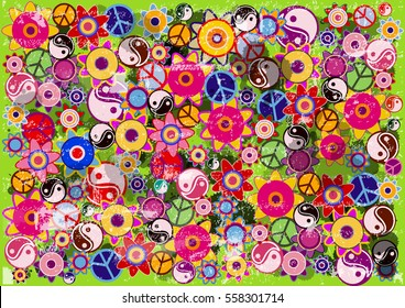color vector hippies flowers background with blobs
