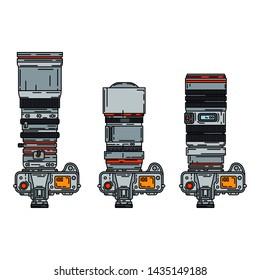 Color vector icon set digital slr professional camera. Photography art. Megapixel photocamera. Cartoon style illustration, element design. Photographic lens. Snapshot equipment. Digital photo studio.