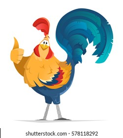 Color vector color illustration of cock bantam rooster bird Finger thumb up